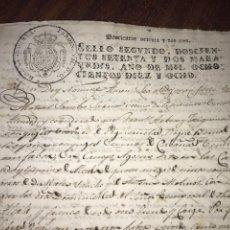 Manuscritos antiguos: SELLO SEGUNDO 1818. RETROVENDICIÓN EN LA VILLA DE PEDROLA (ZARAGOZA). FIRMA ESCRIBANO REAL. Lote 197701045