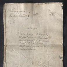 Manuscritos antiguos: MANUSCRITO LEGAJO 1787 ZARAGOZA REUS. PRIMER TENIENTE INFANTERÍA. SELLO. . Lote 197799167