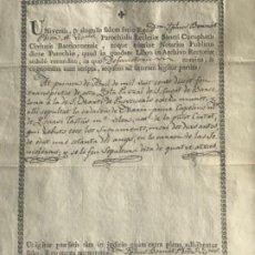 Manuscritos antiguos: MANUSCRITO DEFUNCIÓN , SAN CUCUFATO SANT CUGAT A SANT MARTI PROVENSALS 1818. FIRMA. . Lote 197887851