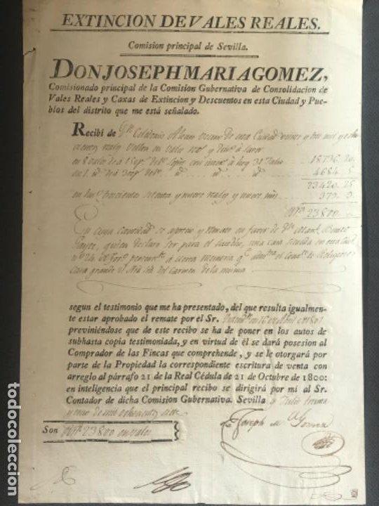 MANUSCRITO, EXTINCIÓN DE VALES REALES SEVILLA 1807. (Coleccionismo - Documentos - Manuscritos)