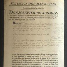 Manuscritos antiguos: MANUSCRITO, EXTINCIÓN DE VALES REALES SEVILLA 1807. . Lote 197888616