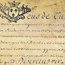 Manuscritos antiguos: CONCESIÓN DE TITULO DE LA UNIVERSIDAD DE TOULOUSE A MAGÍ ENRICH. PERGAMINO. FRANCIA. 1737. Lote 197994157