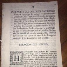 Manuscritos antiguos: 1750 LIMA. CANTABRIA, CIGÜENZA. PERÚ, LIMA. AMÉRICA. CONDE DE CASA-TAGLE.. Lote 198084335