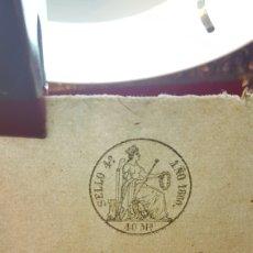 Manuscritos antiguos: PAPEL TIMBRADO, DE OFICIO SIN USO, 3 SELLOS; MARCA DE AGUA TAMPÓN Y SELLO EL SECO DE ISABEL II 1860.. Lote 198121085
