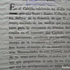 Manuscrits anciens: PETICION DE LIMOSNA, COFRADIA NTRA SRA DE LA SOLEDAD, DESAMORTIZACION, SEVILLA 1.815. Lote 198243477