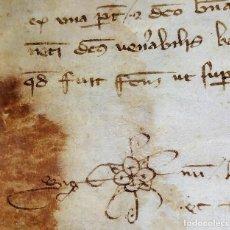 Manuscritos antiguos: SENTENCIA DEL SEÑOR DE LLINÀS CONTRA UN INCENDIARIO DE PANALES. CATALUNYA. ESPAÑA. 1350. Lote 198323368