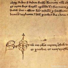 Manuscritos antiguos: RECUESTA DE RIEMBAU DE CORBERA POR SUS HORCAS PARA AJUSTICIADOS . PERGAMINO. CATALUNYA. ESPAÑA.1443. Lote 198408261