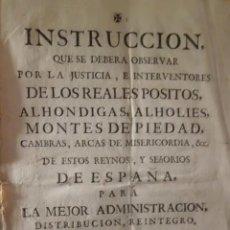 Manuscritos antiguos: INSTRUCCION DE REALES POSITOS, ALHONDIGAS, ALHOLIES, ARCAS DE MISERICORDIA , AÑO 1.753. Lote 198482766