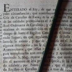 Manuscritos antiguos: REAL ORDEN, CRIA DE CAVALLOS DE RAZA, AÑO 1.771. Lote 198614731