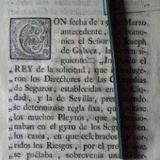 Manuscritos antiguos: CARTA DE ORDEN SOBRE DIRECTORES DE CIAS DE SEGUROS, CADIZ 1.777. Lote 198615948