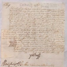 Manuscritos antiguos: FIRMA REAL CARLOS II CONCEDIENDO FACULTAD PARA REGULAR LAS RENTAS DE SALINAS EN ALICANTE Y ORIHUELA. Lote 198690656