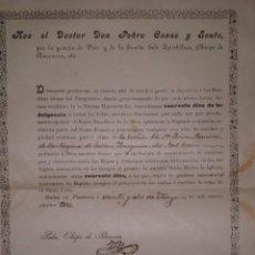 Manuscritos antiguos: CONCESION DE INDULGENCIA, OBISPO DE PLASENCIA, AÑO 1.903. Lote 198745626