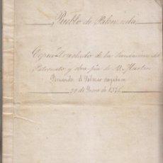 Manuscritos antiguos: PALENZUELA, PALENCIA. PATRONATO Y OBRA PÍA DE MARTÍN FERNÁNDEZ DE SALAZAR. 1578. COPIA DE 1858. Lote 198750508