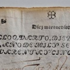 Manuscritos antiguos: TIMBROLOGÍA DOCUMENTO CON DOS SELLOS 4º 10 MARAVEDIS AÑO 1645 EN BUEN ESTADO. Lote 198817708