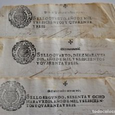Manuscritos antiguos: TIMBROLOGÍA TRES DOCUMENTOS CON SELLO 4º 10 MARAVEDIS, SELLO OFICIO Y SELLO 2º 68 MARAV. AÑO 1646. Lote 198818665
