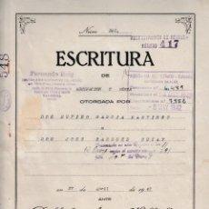 Manuscritos antiguos: 1942 VALENCIA NOTARIO JULIO AMAT VILLALBA FISCAL 3º 37,50 PTS ESCRITURA MARCA AGUA A ROMANI T . Lote 199058400