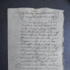 Manuscritos antiguos: MANUSCRITO AÑO 1643 ALICANTE APOCA DEL SEÑOR DE AGRES . Lote 199077437