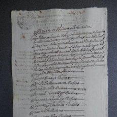 Manuscritos antiguos: MANUSCRITO AÑO 1737 FISCAL OFICIOS LOECHES MADRID RELACIÓN VECINOS. Lote 199077953