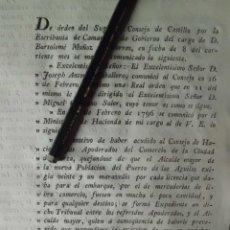 Manuscritos antiguos: ORDEN DEL SUPREMO CONSEJO DE CASTILLA PLEYTO DE LORCA CONTRA ALCALDE MAYOR DE PUERTO DE AGUILAS. Lote 199236550