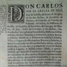 Manuscritos antiguos: REAL PROVISION PARA QUE LOS LABRADORES SE APROVECHEN DEL ARRENDAMIENTO DE TIERRAS. Lote 199239223