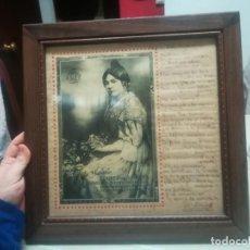 Manuscritos antiguos: RARO CUADRO CON PUBLICIDAD PERFUMES FLORALIA CON POEMA FIRMADO MIREN FOTOS . Lote 199429915
