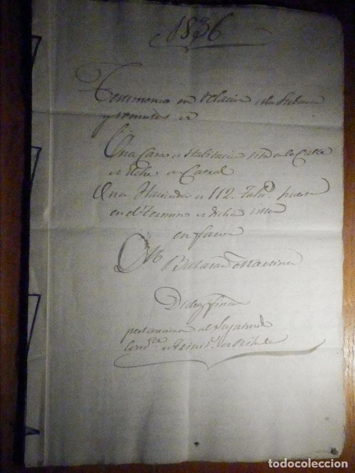 DOCUMENTO TIMBROLOGÍA AÑO 1836 - 13 SELLOS CUARTOS 4º 40 MRS MARAVEDIES - CATRAL, ORIHUELA, ALICANTE (Coleccionismo - Documentos - Manuscritos)