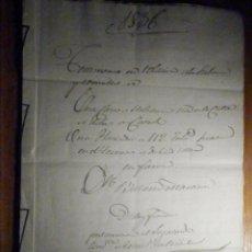 Manuscritos antiguos: DOCUMENTO TIMBROLOGÍA AÑO 1836 - 13 SELLOS CUARTOS 4º 40 MRS MARAVEDIES - CATRAL, ORIHUELA, ALICANTE. Lote 199433552