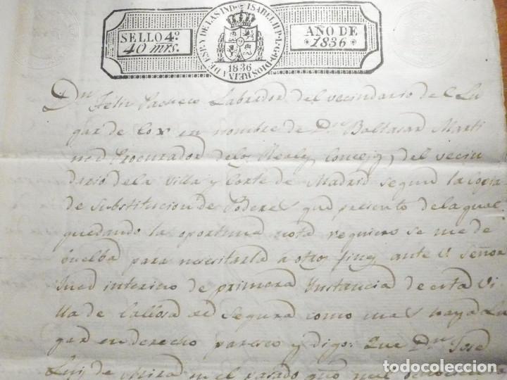 Manuscritos antiguos: Documento Timbrología Año 1836 - 13 sellos Cuartos 4º 40 mrs Maravedies - Catral, Orihuela, Alicante - Foto 5 - 199433552