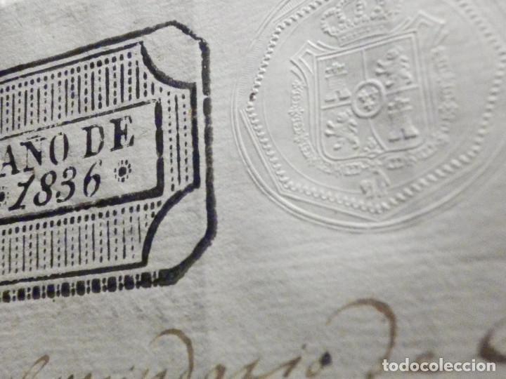 Manuscritos antiguos: Documento Timbrología Año 1836 - 13 sellos Cuartos 4º 40 mrs Maravedies - Catral, Orihuela, Alicante - Foto 6 - 199433552