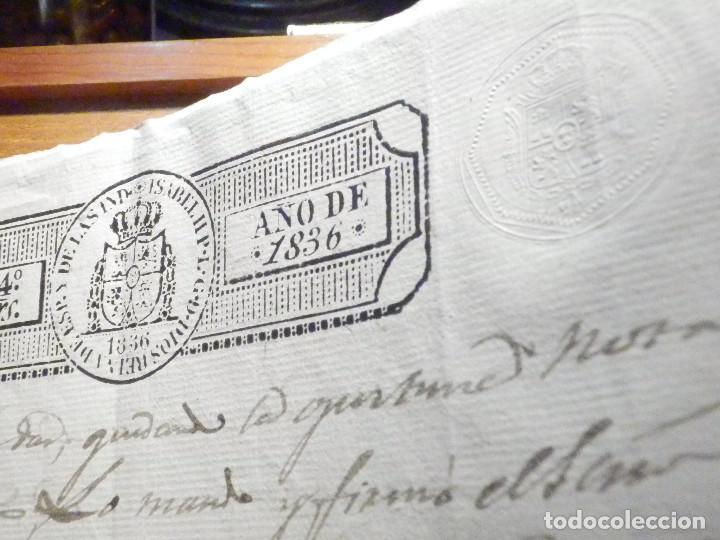 Manuscritos antiguos: Documento Timbrología Año 1836 - 13 sellos Cuartos 4º 40 mrs Maravedies - Catral, Orihuela, Alicante - Foto 7 - 199433552