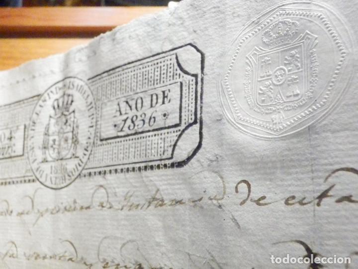 Manuscritos antiguos: Documento Timbrología Año 1836 - 13 sellos Cuartos 4º 40 mrs Maravedies - Catral, Orihuela, Alicante - Foto 8 - 199433552