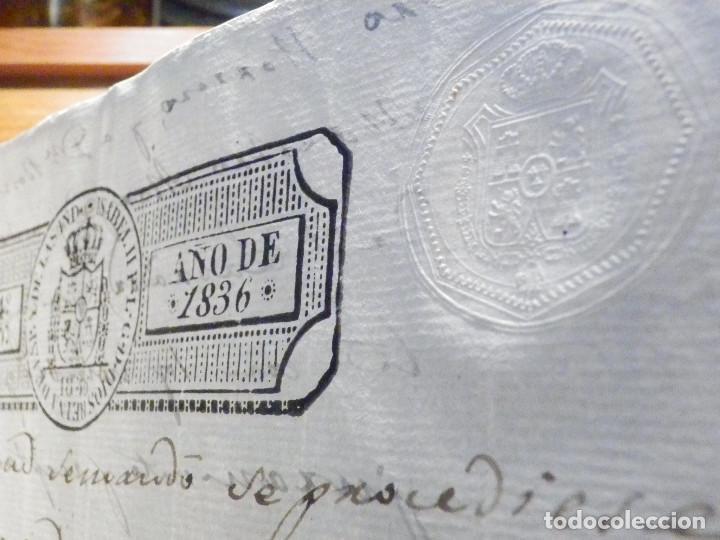 Manuscritos antiguos: Documento Timbrología Año 1836 - 13 sellos Cuartos 4º 40 mrs Maravedies - Catral, Orihuela, Alicante - Foto 9 - 199433552