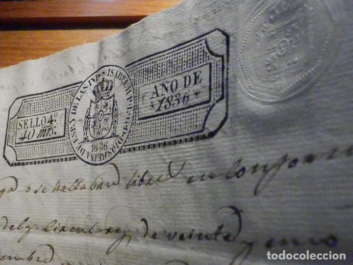 Manuscritos antiguos: Documento Timbrología Año 1836 - 13 sellos Cuartos 4º 40 mrs Maravedies - Catral, Orihuela, Alicante - Foto 10 - 199433552