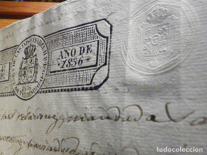 Manuscritos antiguos: Documento Timbrología Año 1836 - 13 sellos Cuartos 4º 40 mrs Maravedies - Catral, Orihuela, Alicante - Foto 11 - 199433552