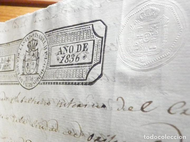 Manuscritos antiguos: Documento Timbrología Año 1836 - 13 sellos Cuartos 4º 40 mrs Maravedies - Catral, Orihuela, Alicante - Foto 12 - 199433552