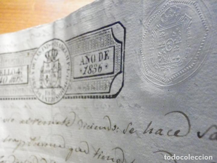 Manuscritos antiguos: Documento Timbrología Año 1836 - 13 sellos Cuartos 4º 40 mrs Maravedies - Catral, Orihuela, Alicante - Foto 13 - 199433552