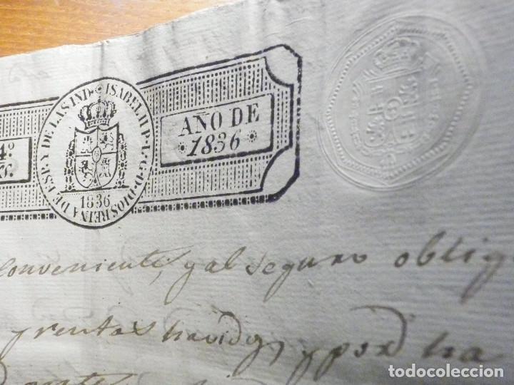 Manuscritos antiguos: Documento Timbrología Año 1836 - 13 sellos Cuartos 4º 40 mrs Maravedies - Catral, Orihuela, Alicante - Foto 14 - 199433552
