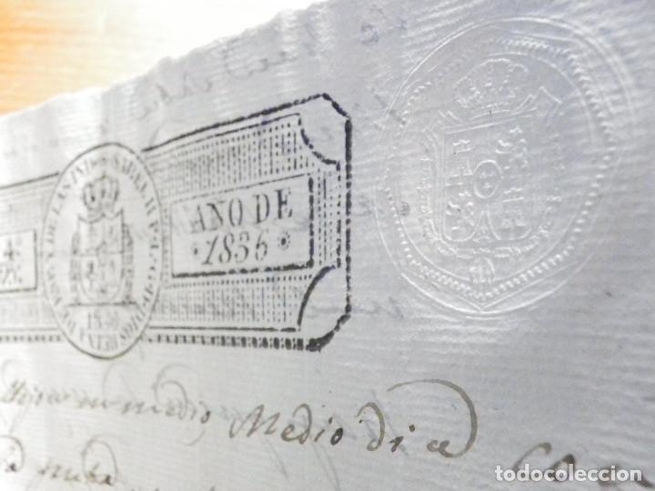 Manuscritos antiguos: Documento Timbrología Año 1836 - 13 sellos Cuartos 4º 40 mrs Maravedies - Catral, Orihuela, Alicante - Foto 15 - 199433552