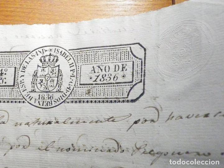 Manuscritos antiguos: Documento Timbrología Año 1836 - 13 sellos Cuartos 4º 40 mrs Maravedies - Catral, Orihuela, Alicante - Foto 16 - 199433552