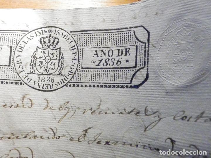 Manuscritos antiguos: Documento Timbrología Año 1836 - 13 sellos Cuartos 4º 40 mrs Maravedies - Catral, Orihuela, Alicante - Foto 17 - 199433552
