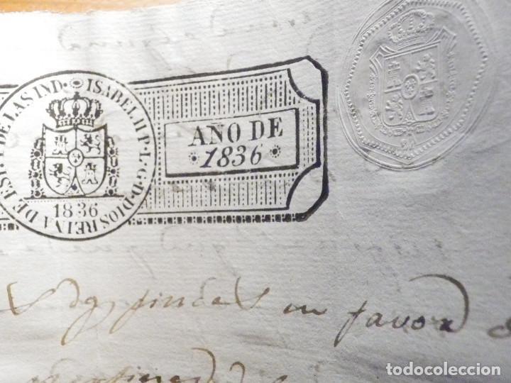 Manuscritos antiguos: Documento Timbrología Año 1836 - 13 sellos Cuartos 4º 40 mrs Maravedies - Catral, Orihuela, Alicante - Foto 18 - 199433552