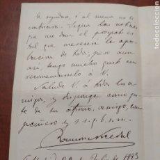 Manuscritos antiguos: DOCUMENTO ANTIGUO , CARTA MANUSCRITA Y FIRMADA POR RAMÓN NOCEDAL .. Lote 199635183