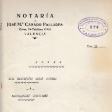 Manuscritos antiguos: 1945 VALENCIA NOTARIO JOSE Mª CASADO PALLARES ESCRITURA DE PODER FISCAL 5º 7,50 PTS. Lote 199658681