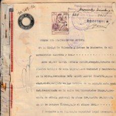 Manuscritos antiguos: 1942 MONSERRAT VALENCIA SELLO FISCAL 1º 150 PTS HERENCIA. Lote 199662988
