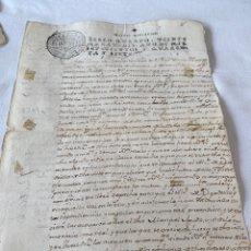 Manuscritos antiguos: FERNANDO VI 1747 SELLO CUARTO VEINTE MARAVEDIS. Lote 199711312