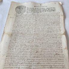 Manuscritos antiguos: FERNANDO VI 1747 SELLO CUARTO VEINTE MARAVEDIS. Lote 199712066