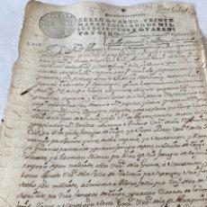 Manuscritos antiguos: FERNANDO VI 1748 SELLO CUARTO VEINTE MARAVEDIS. Lote 199713095