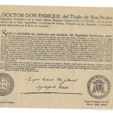 Manuscritos antiguos: CEDULA BULA DE CRUZADA SUMARIO DE DIFUNTOS- CARDENAL PLA Y DENIEL. Lote 199724411
