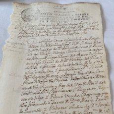 Manuscritos antiguos: FERNANDO VI 1754 SELLO CUARTO VEINTE MARAVEDIS. Lote 199735802