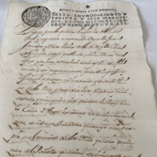 Manuscrits anciens: FERNANDO VI 1757 SELLO SEGUNDO CIENTO TREINTA Y SEIS MARAVEDIS. Lote 199737383